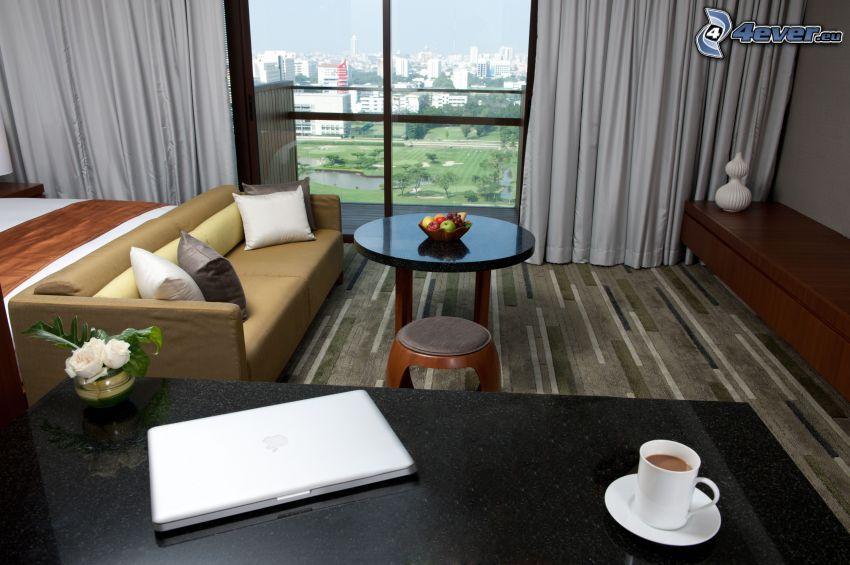 soggiorno, divano, vista della città