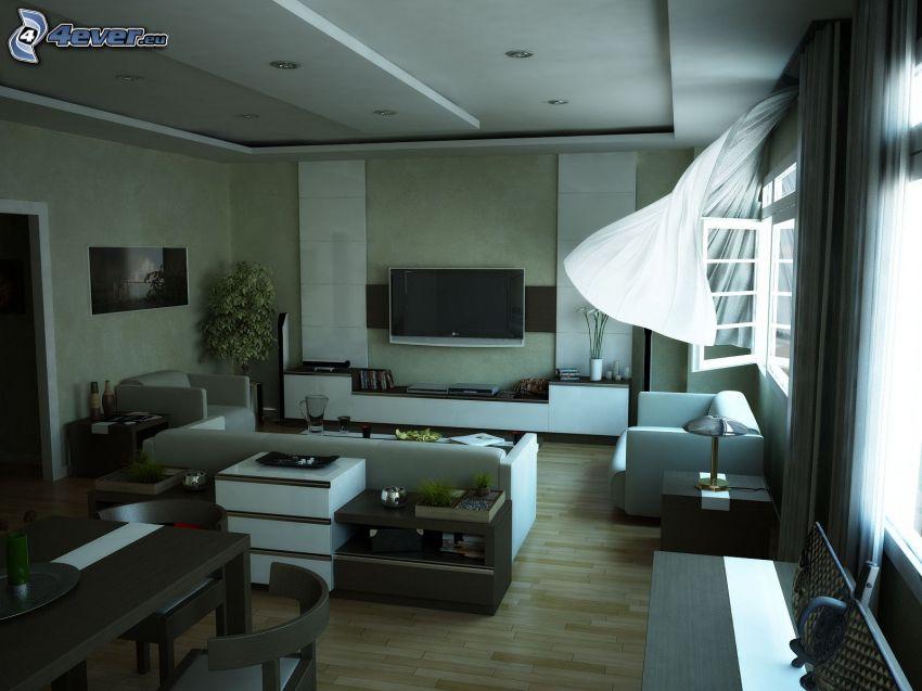 soggiorno, televisione, finestra