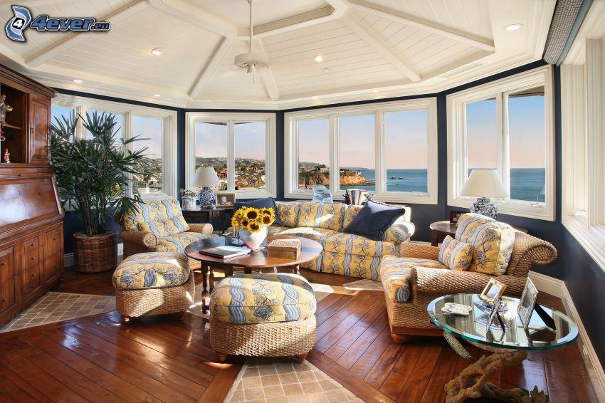 soggiorno lussuoso, vista sul mare