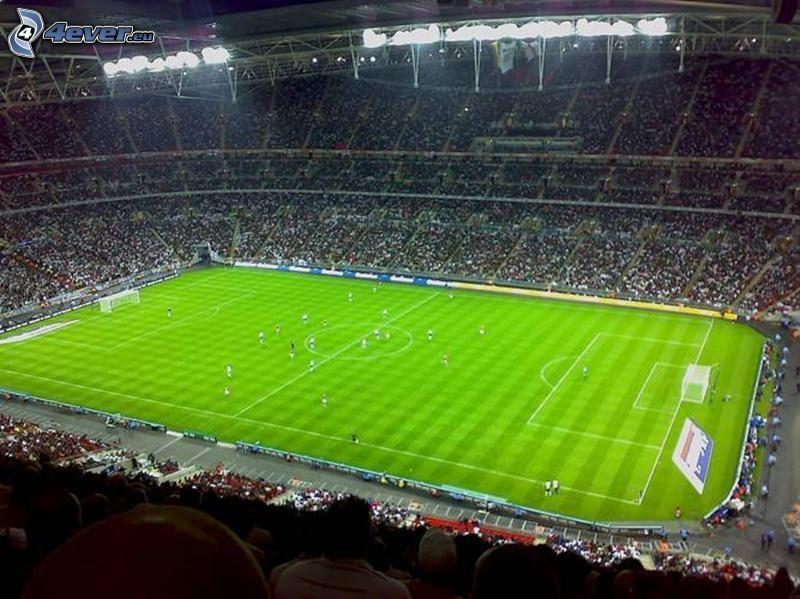 stadio di calcio, calciatori, fans