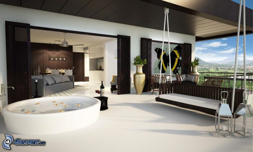 terrazza, altalena, bagno