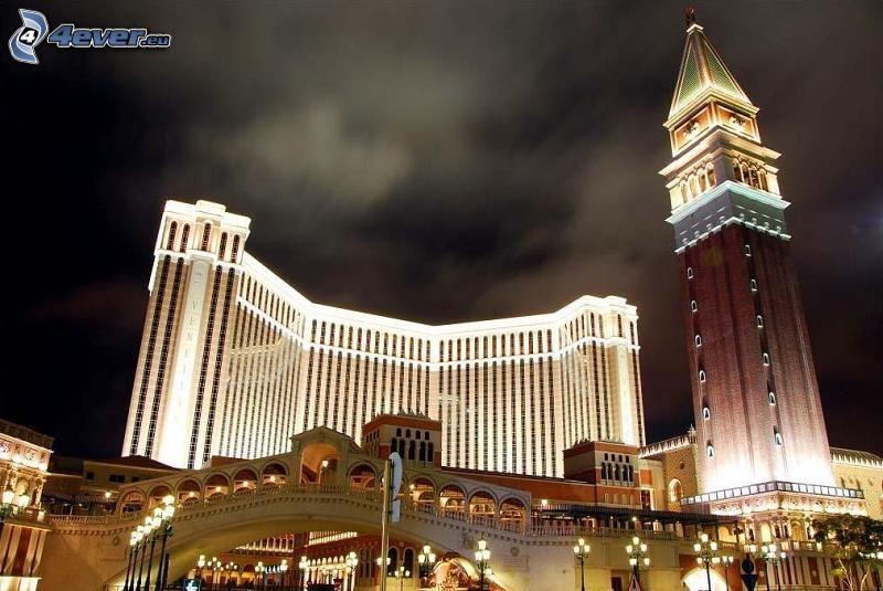 The Venetian Macao, Hong Kong, casinò, notte, illuminazione