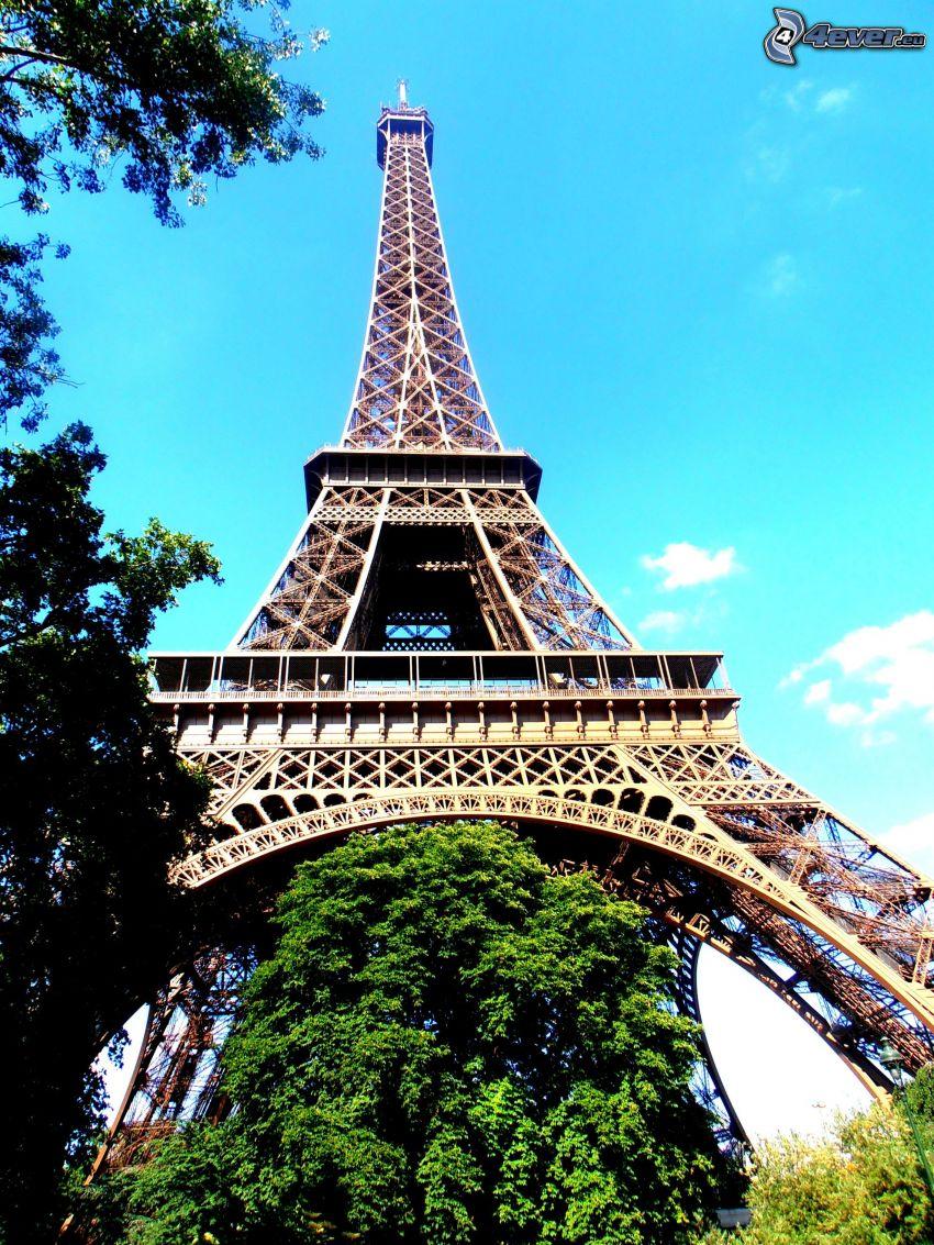 Torre Eiffel, verde, cielo