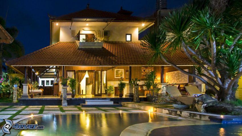 villa, piscina