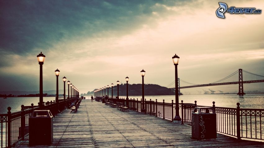 molo di legno, cielo, Bay Bridge, lampione