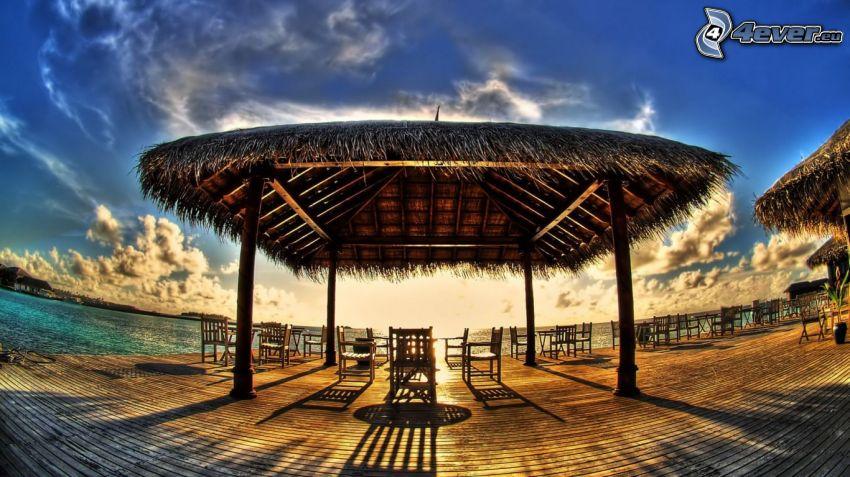 molo di legno, pergola, tramonto, mare, HDR