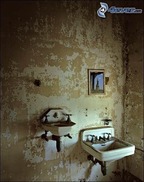 natura morta, bagno, lavandino