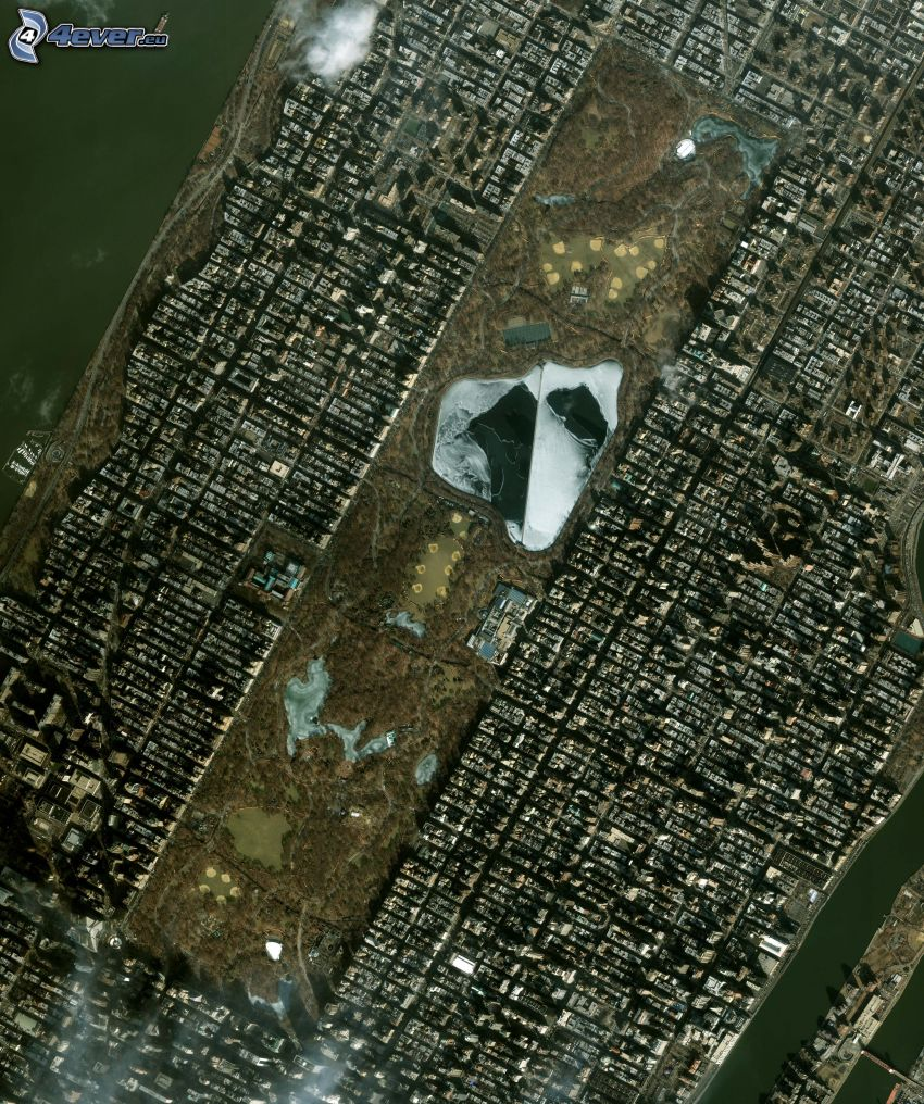Central Park, Manhattan, New York, immagini satellitari
