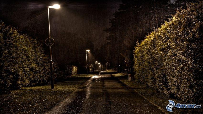 parco di notte, pioggia, lampioni, marciapiede