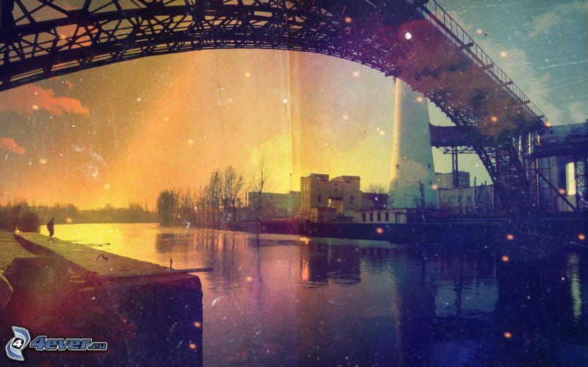 ponte di ferro, il fiume, fabbrica