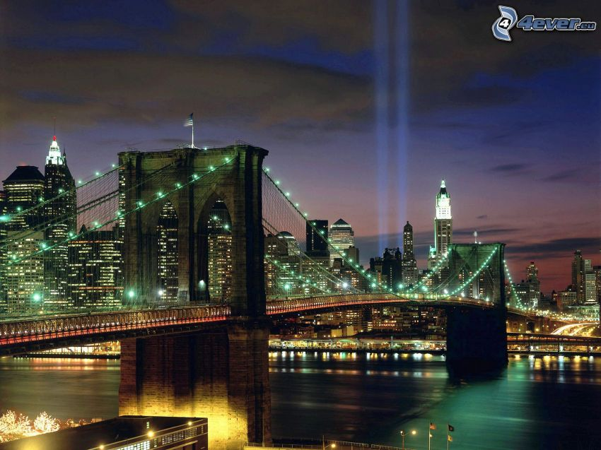 Brooklyn Bridge, New York, WTC memorial, città, luci, notte