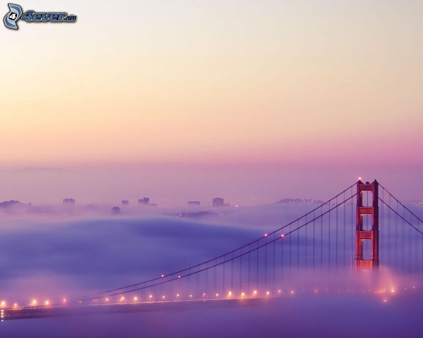 Golden Gate, nuvole, ponte in nebbia