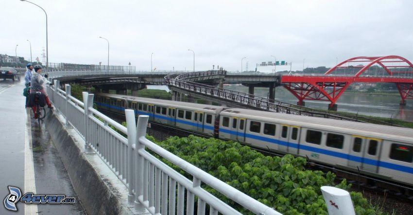 Guandu Bridge, treno espresso, strada