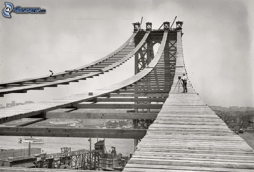Manhattan Bridge, costruzione, foto in bianco e nero
