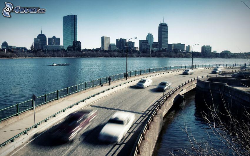 ponte, grattacieli, autostrada