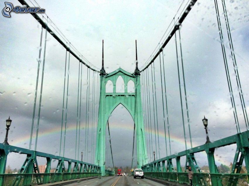 Ponte St. Johns, pioggia, arcobaleno