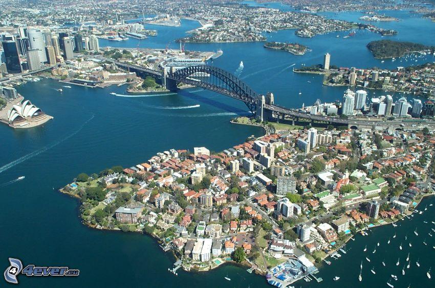 Sydney Harbour Bridge, vista aerea, ponte, Sydney Opera House, città, panfilo