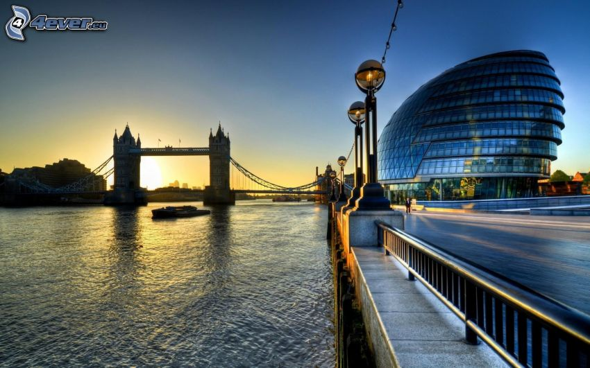 Tower Bridge, Londra, Inghilterra, Tamigi, levata del sole, edificio