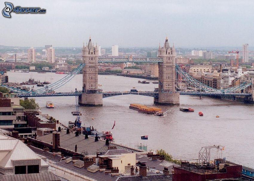 Tower Bridge, Londra, Tamigi, navi