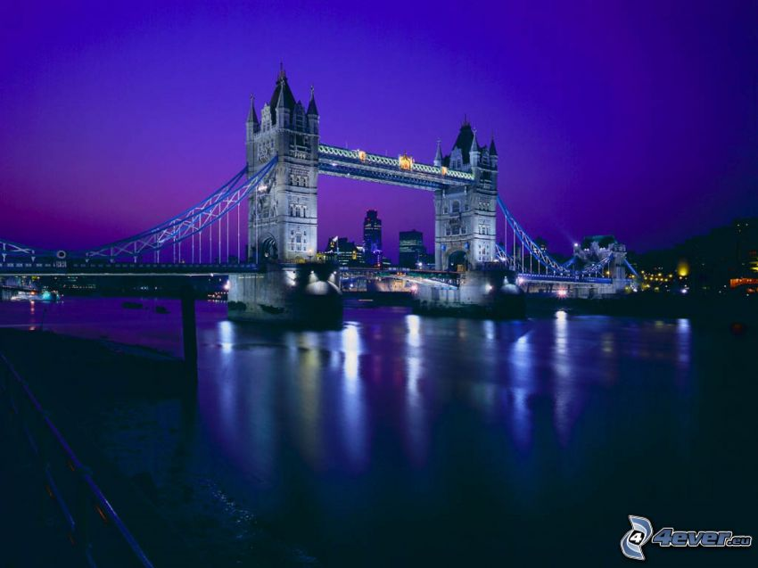 Tower Bridge, ponte illuminato, notte, Tamigi, Londra