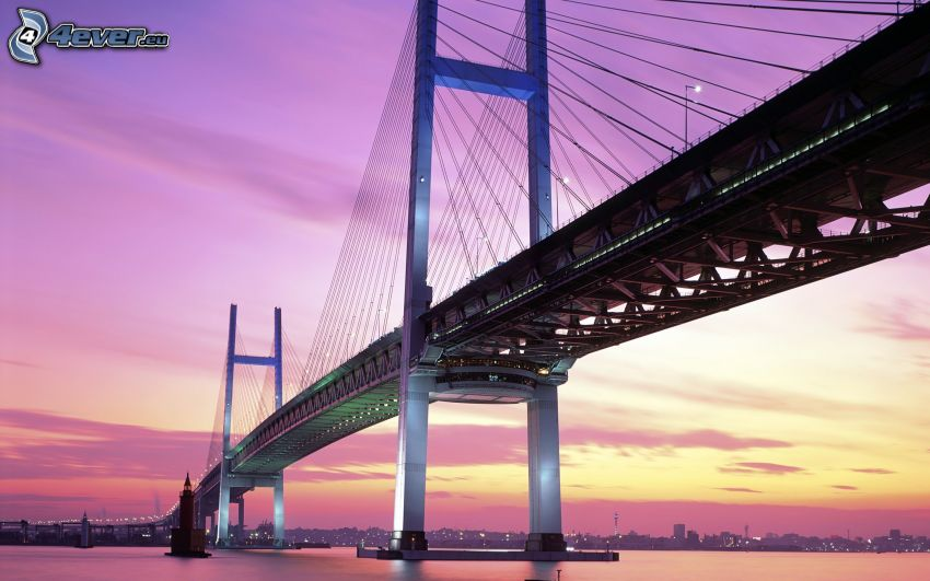 Yokohama Bay Bridge, cielo viola