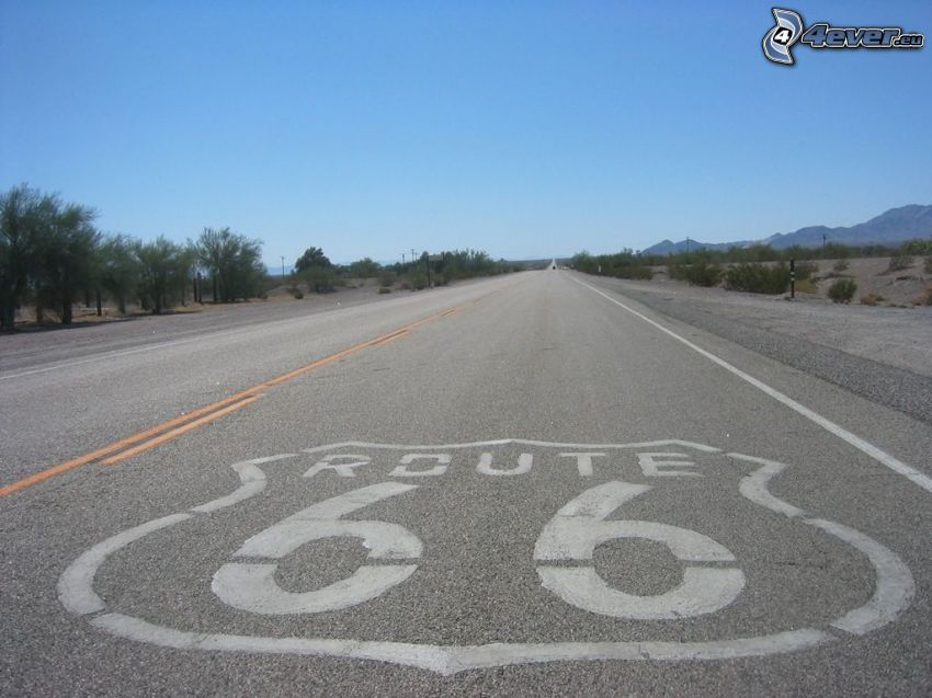 Route 66 US, USA, strada diritta