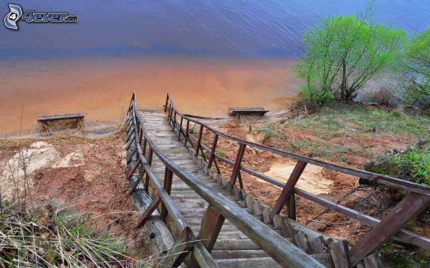 scale di legno, lago, arbusti