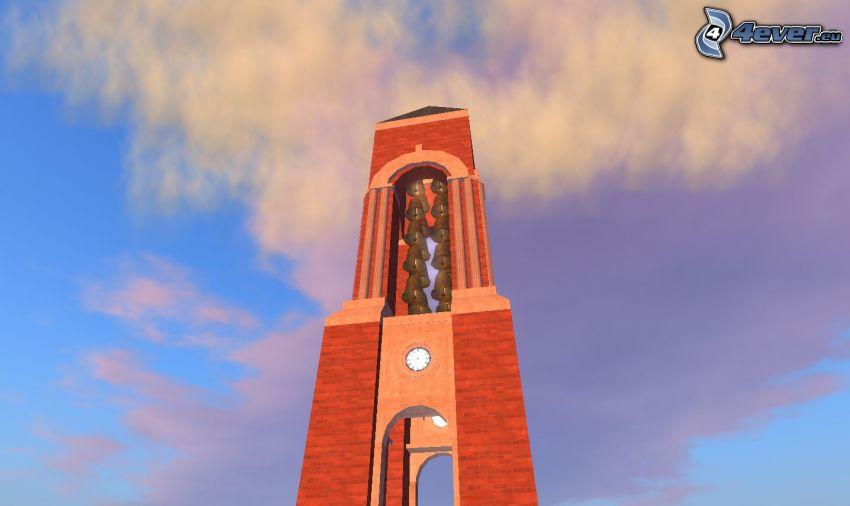 Shafer Tower, campanile, nuvole