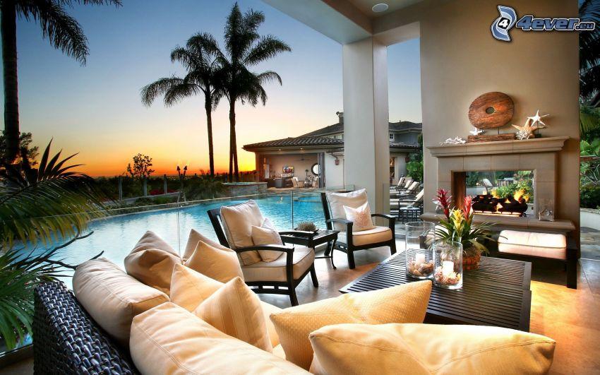 soggiorno lussuoso, piscina, camino, palme
