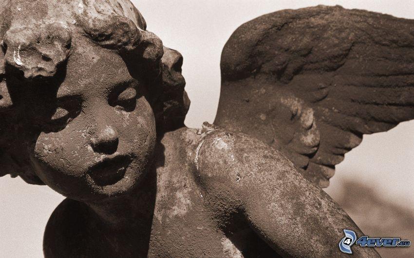 statua, angelo