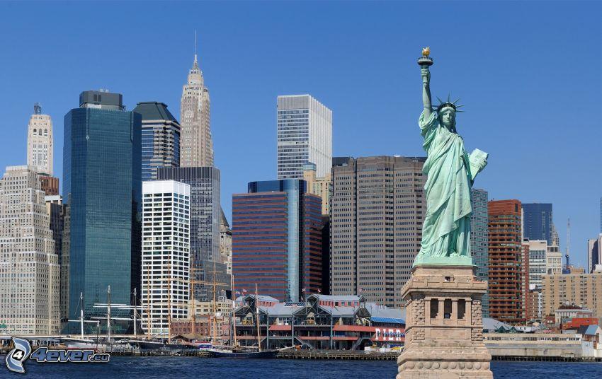 Statua della Libertà, grattacieli