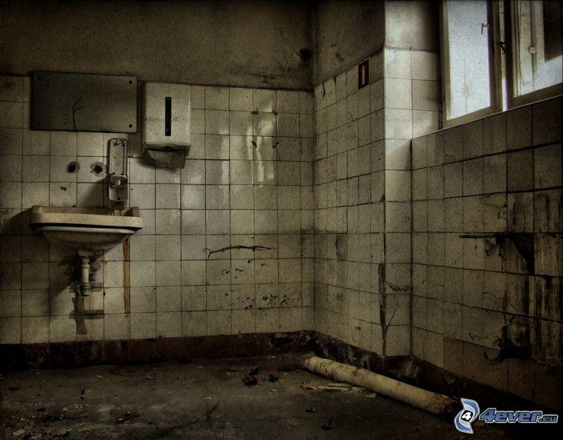casa abbandonata, bagno, lavandino