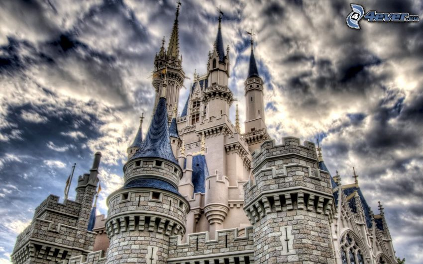 castello, nuvole, HDR