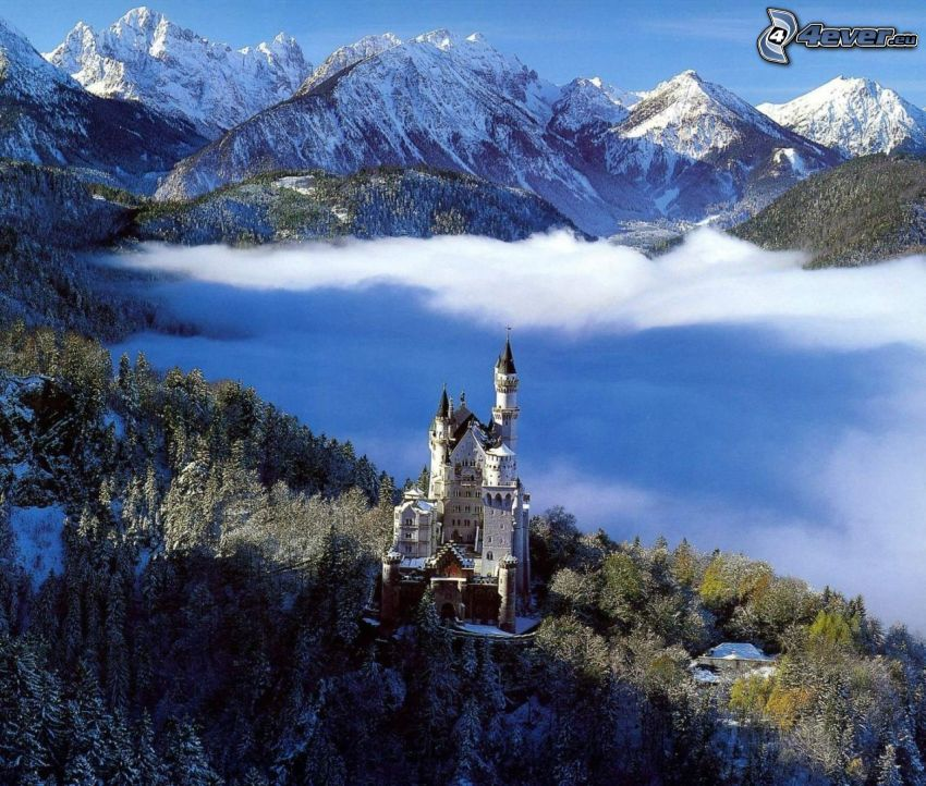 castello di Neuschwanstein, Germania, nuvole, castello, inversione termica, inverno, montagne innevate