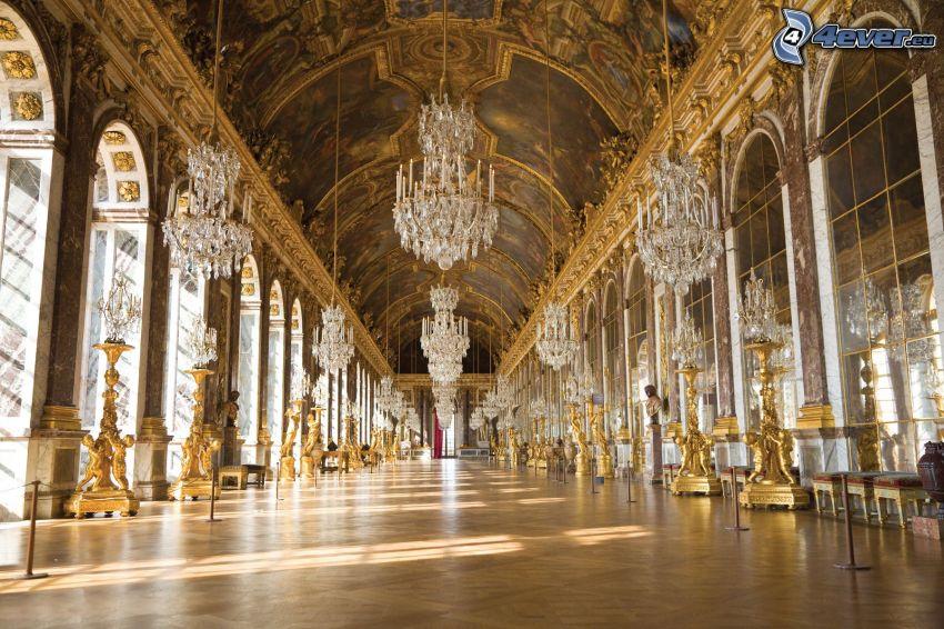 Castello Versailles, interno, corridoio, luci