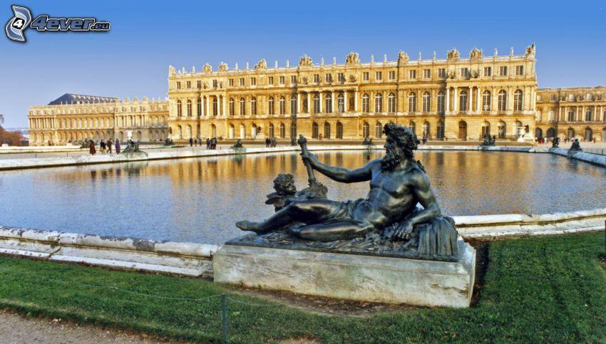 Castello Versailles, statua, lago