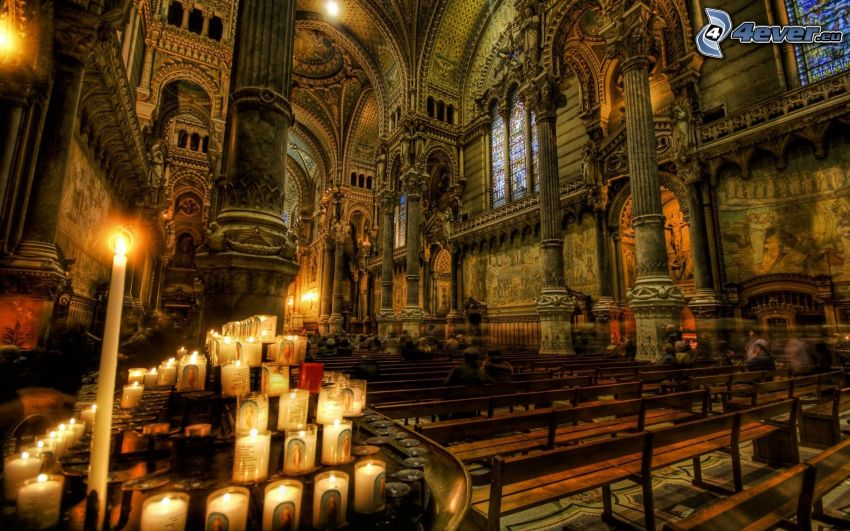 cattedrale, candele, HDR