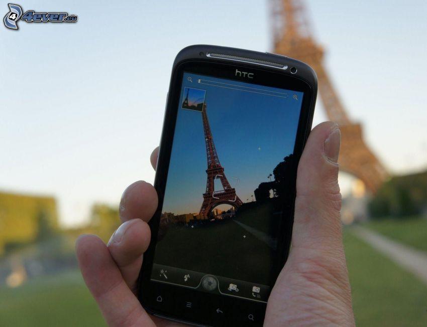 cellulare, mano, fare le foto, Torre Eiffel