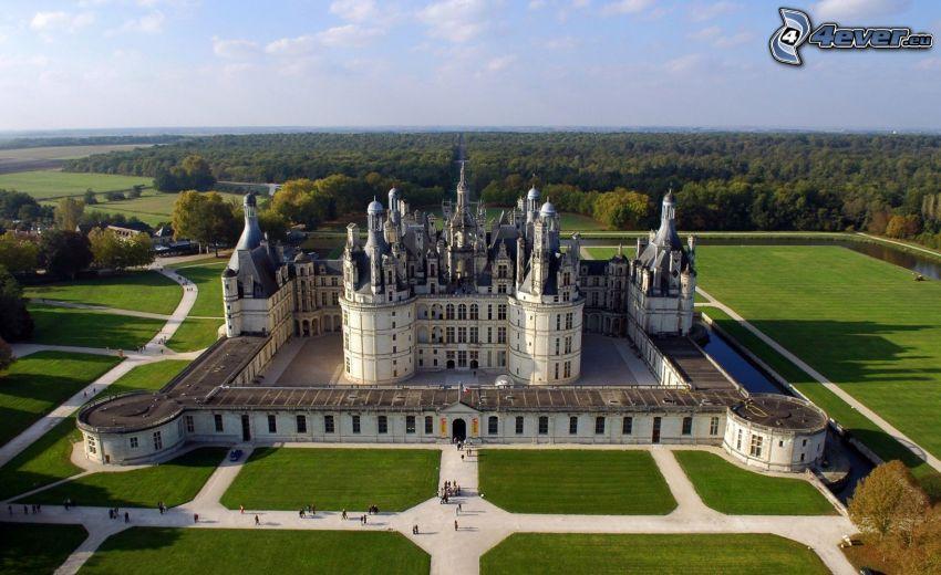 Chateau Chambord, prato, marciapiede, foresta