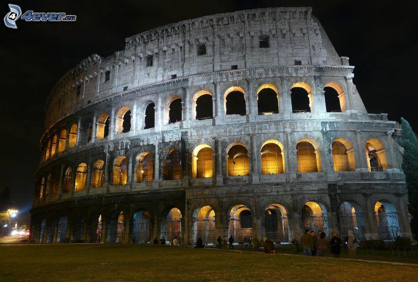 Colosseo, Roma, Italia, notte, illuminazione