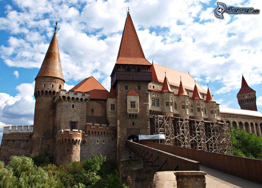 Hunyad, castello, nuvole, ponte