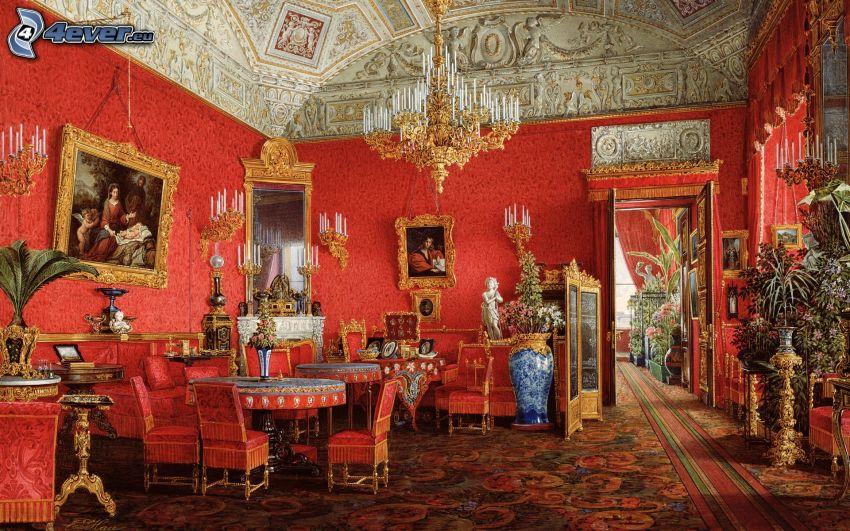 interno, palazzo, mobili
