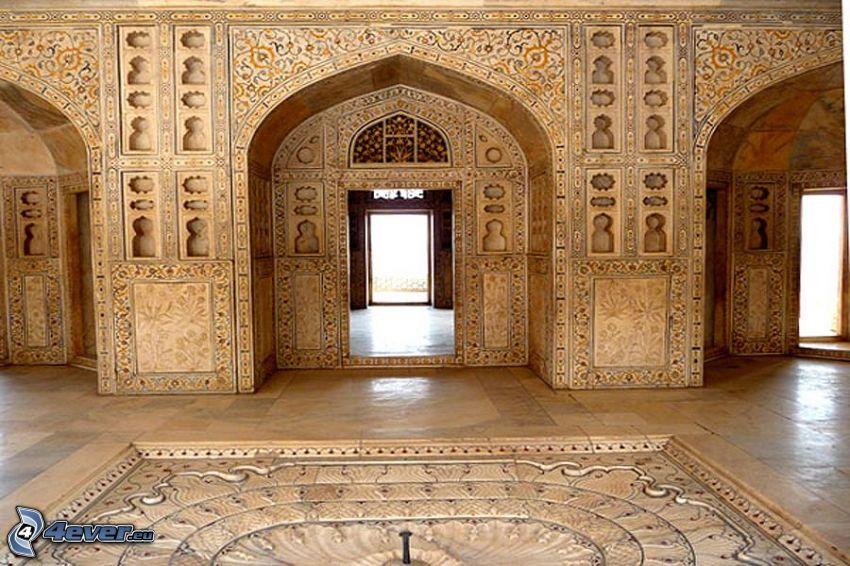 interno del Taj Mahal, corridoio