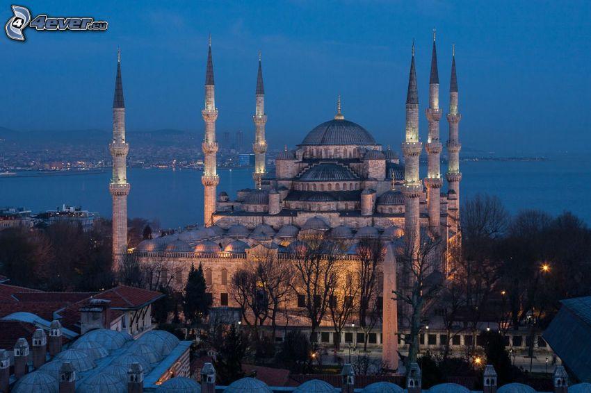 La Moschea Blu, Istanbul, città notturno