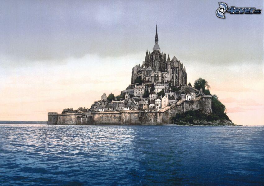 Mont Saint-Michel, Francia, abbazia, monastero, mare