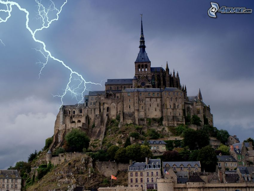 Mont Saint-Michel, Francia, collina, fulmine