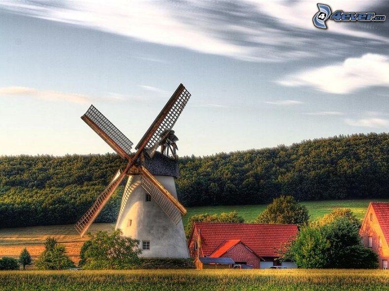 mulino a vento, Germania, foresta, campagna, nuvole