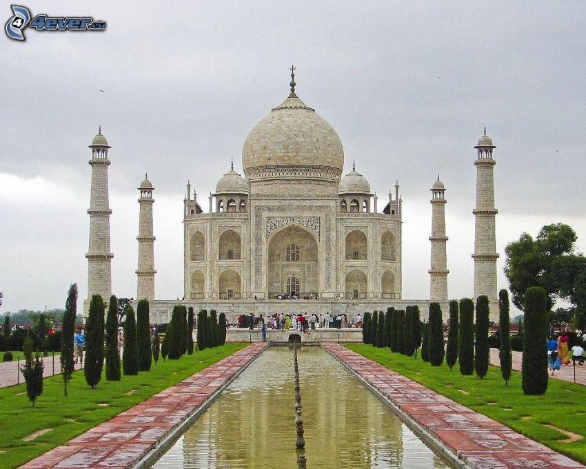 Taj Mahal, acqua, alberi, parco