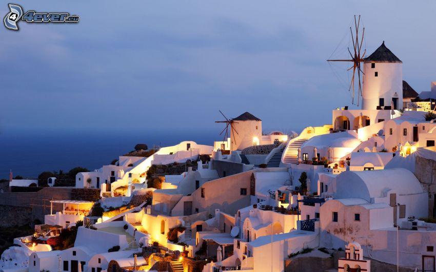 Thira, Grecia, mulino, case, villaggio