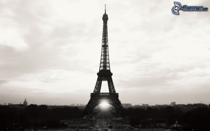 Torre Eiffel, Parigi, Francia, bianco e nero